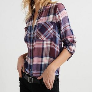 Lucky Brand Classic Pleat Back Plaid Button Down